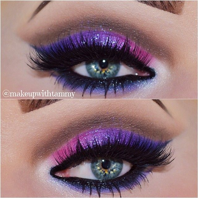 Colorful cut crease with glitter