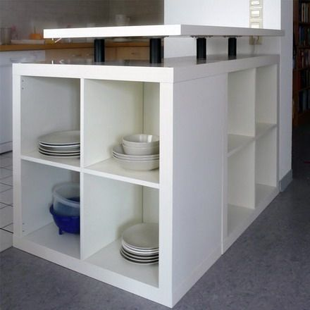 Love this idea!! Putting two, 4 cube I kea bookcases together for a kitchen counter!!