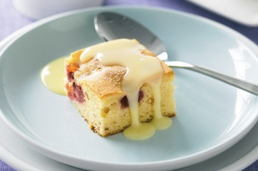 This paler cousin of the chocolate brownie is a decadent mix of white chocolate and sweet raspberries.