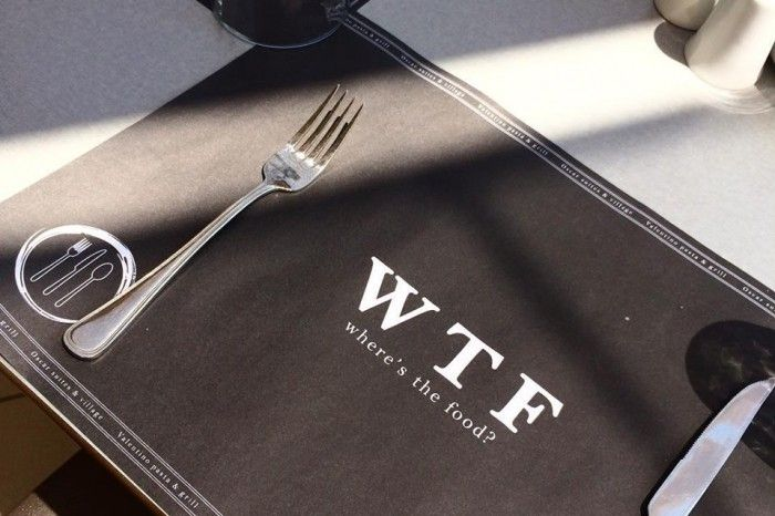 WFT where's the food? placemats restaurant valentino pasta & grill hotel Oscar Suites & Village