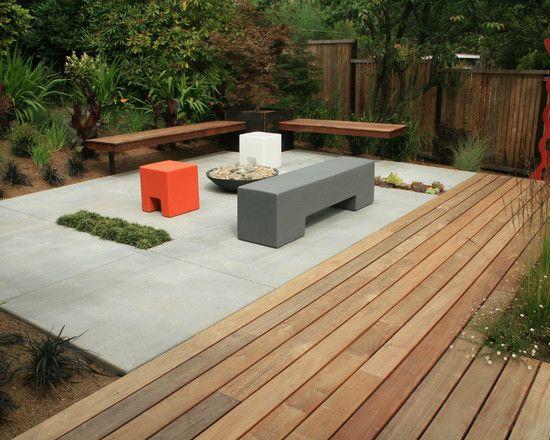 Concrete Slab And Wood Deck Combo Landscapes Pinterest