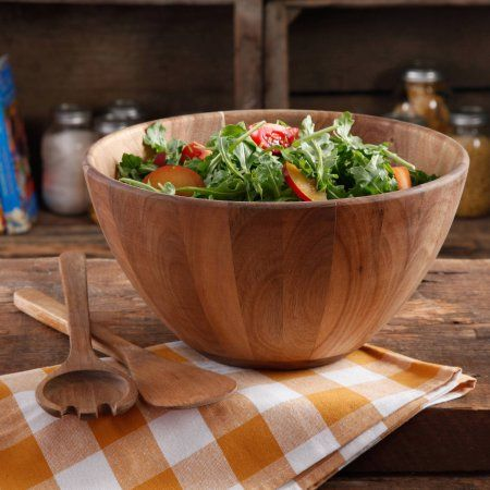 The Pioneer Woman Cowboy Rustic 12 inch Salad Bowl and 12 inch Handle Servers, Brown