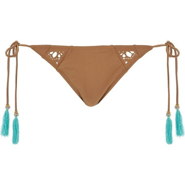 River Island RI Resort brown tassel bikini bottoms (55 BRL) ❤ liked on Polyvore featuring swimwear, bikinis, bikini bottoms, thong bikinis, string bottom bikini, tassel bikini, bikini bottom and string bikini bottoms