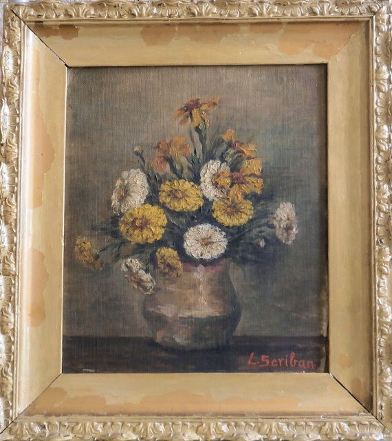 AntiqueOriginal Painting Oil on Canvas Can of by VintageMessage, $440.00