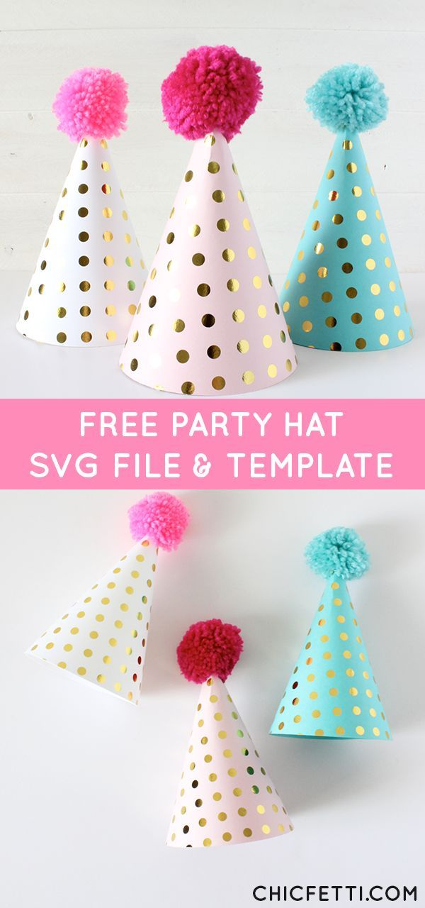 Make your own party hats - Free Party Hat SVG File and PDF Template