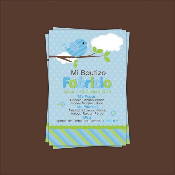 Invitación Bautizo Pajarito / Baptism Bird Invitation