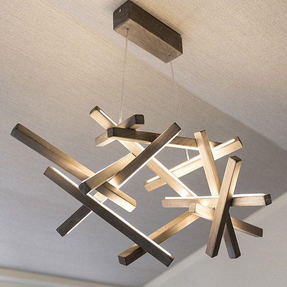 led wood chandelier led lamp wood lamp modern home deco unique design lighting. Black Bedroom Furniture Sets. Home Design Ideas
