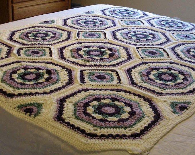 Crocheted Granny Square Blanket Based on DROPS SEASIDE BLUES pattern.