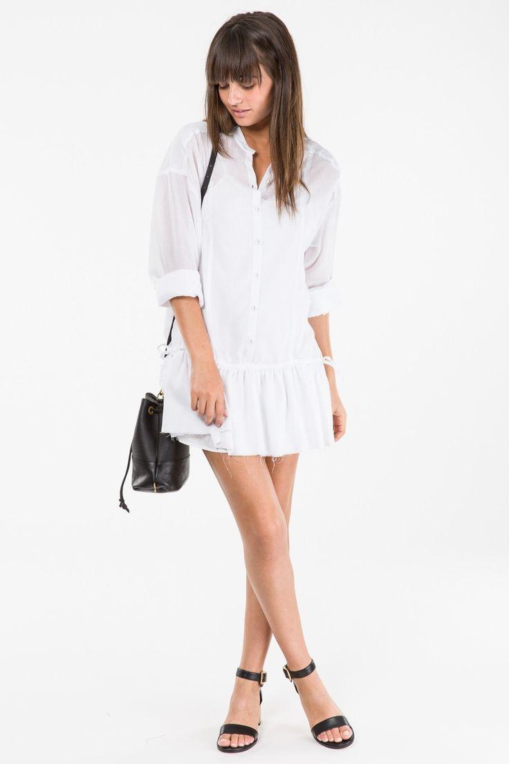 Billow Shirt Dress - White - Superette | Your Fashion Destination.