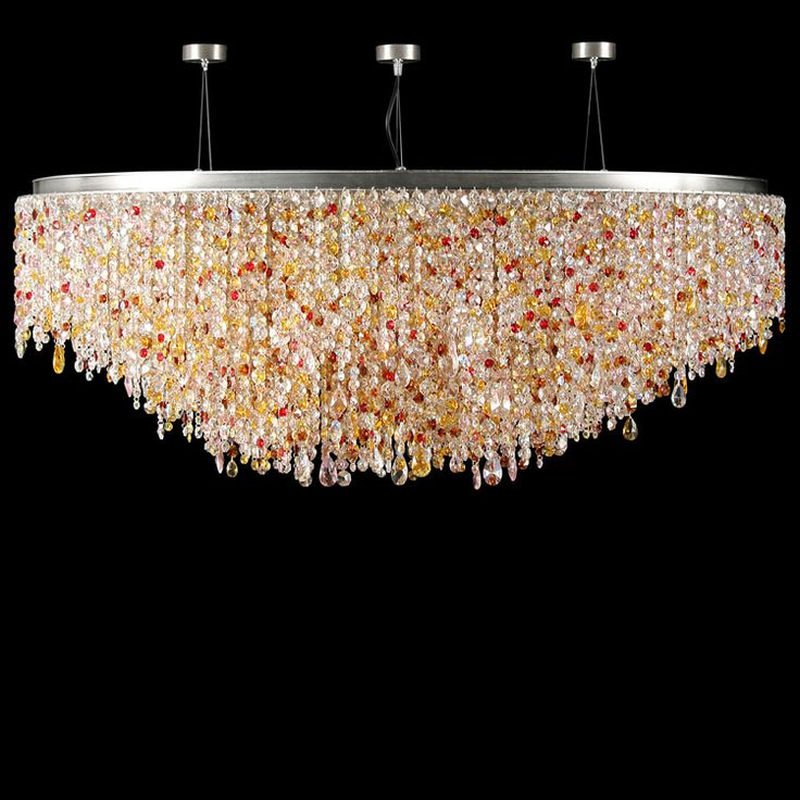 #Circus collection. Elipttical #ceiling #lamp, polychrome #Asfour and #Swarovski fittings. Nickel brushed finish.