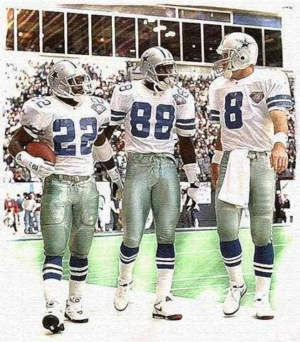 """Trio"" Dallas Cowboys Art Print, Aikman, Irvin, Smith"