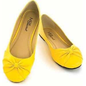 Yellow flats for wedding shoes.
