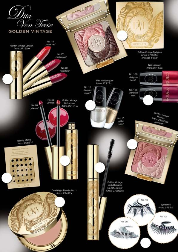 Dita Von Teese's  makeup collection:  'Limited Edition ARTDECO Golden Vintage Collection' is VT's tribute to film divas of the 1940s. 12/2012