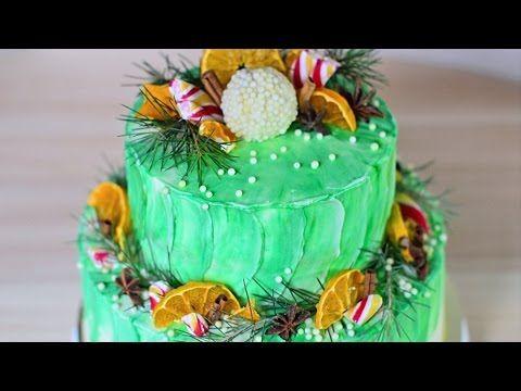 Двухъярусный ☆ Акварельный ☆ Новогодний торт - YouTube