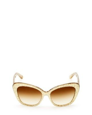 Óculos Juicy Coulture Women's Glittered Cateye Sunglasses Gold Glitter #Oculos #JuicyCouture