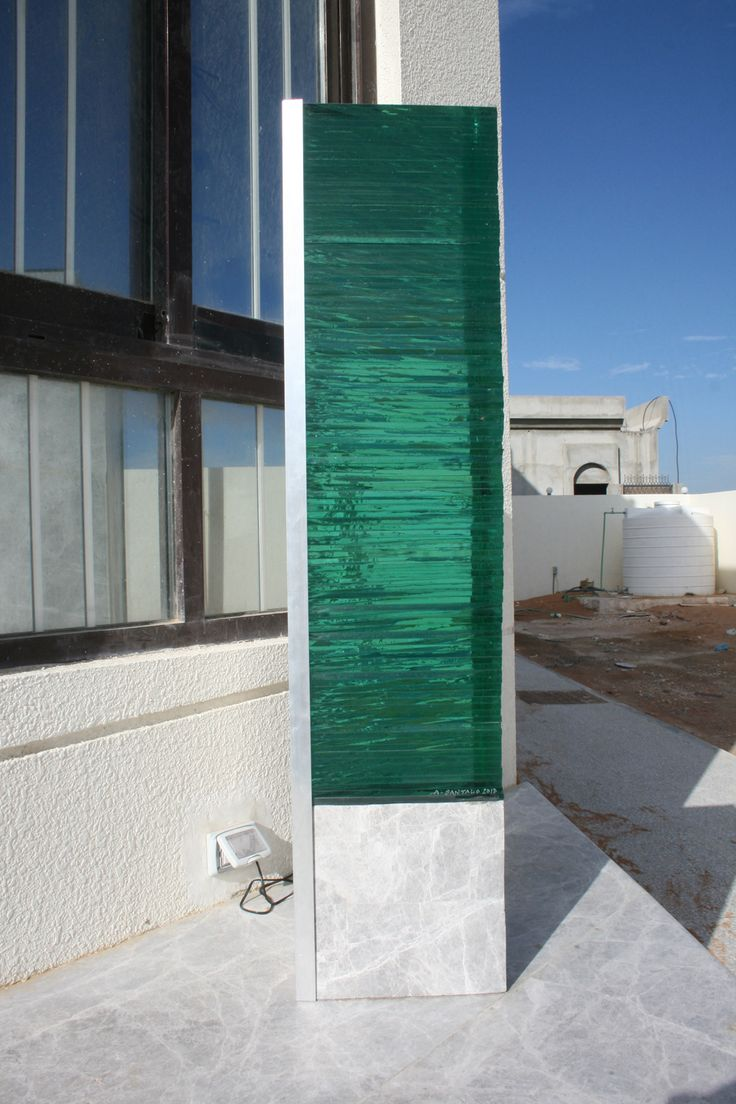 AURORE BOREAL :  Stone (from RAK) and Glass exterior Lamp designed and made by Amedee Santalo. (sold)