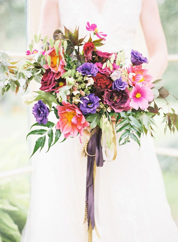 Pink and Purple Summer Bridal Bouquet | Jewel Toned Spring Wedding Inspiration