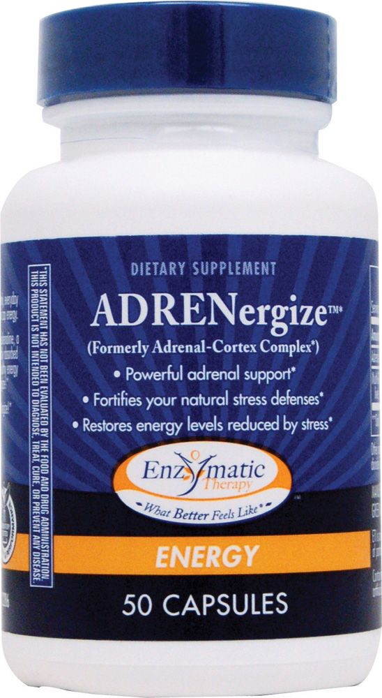 Enzymatic Therapy ADRENergize®  Adrenal Cortex Extract250 mg* Multi-Glandular Complex100 mg* *Daily value not established.  Free Of Artificial flavoring, corn, dairy products, gluten, preservatives, salt, soy, sugar, wheat and yeast.