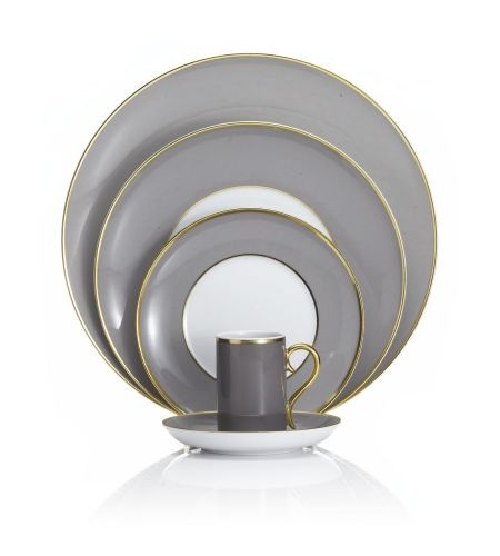 Vista Alegre - Rocco Grey And Gold Place Setting  #vistaalegre #porcelain #portugal #kitchen2table #tabletop  For wholesale pricing in the southeast US contact: sales@kitchen2table.com