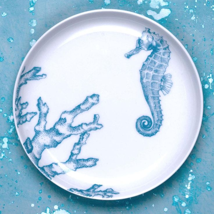 Seahorse & Coral Dessert Plate