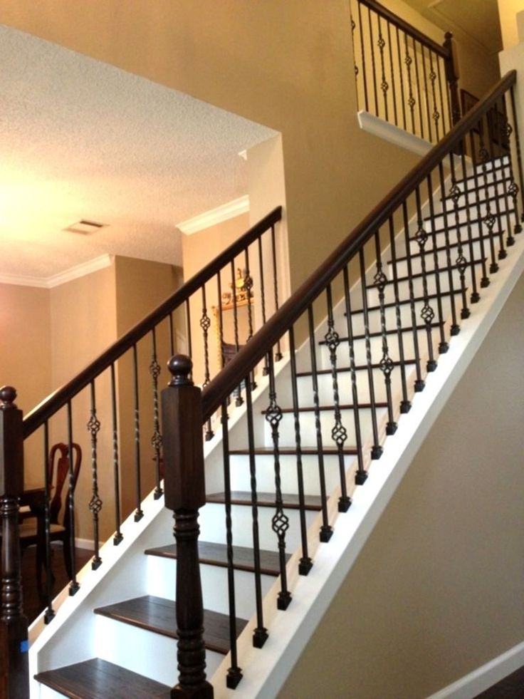 Front Porch Railing Wood Stairs With Wrought Iron Balusters | Stairway Remodel