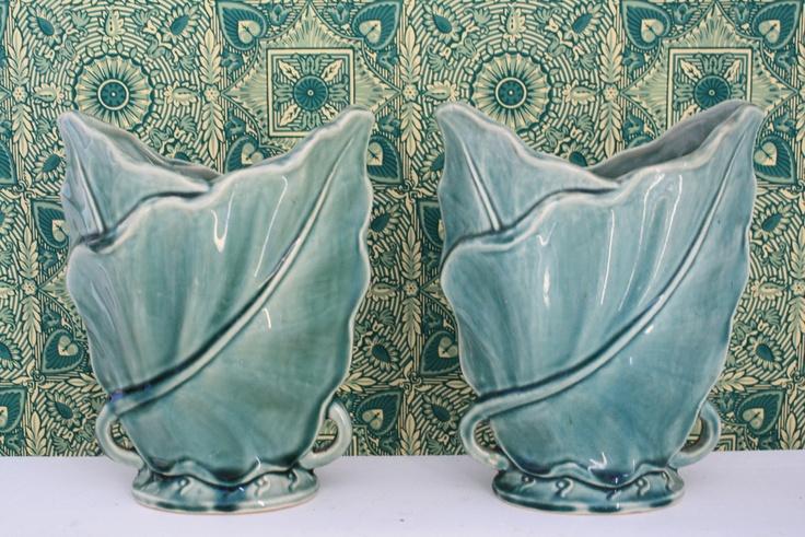 1950's pair of green ceramic Brush McCoy pottery palm leaf vases