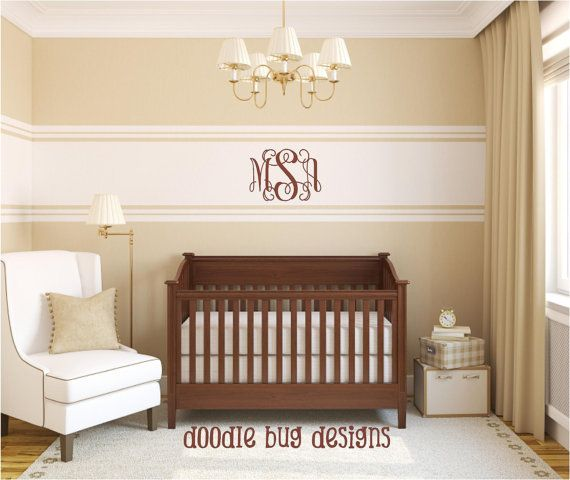 stripe on wall with monogram Cot, Wall Stripes, Master Bedrooms, Baby Room, Cribs, Neutral Nurseries, Nurseries Ideas, Babies Rooms, Vinyls Wall Art