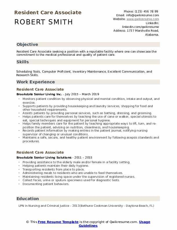 Resident Care Associate Resume Samples Qwikresume Cv Template Good Cv Cv Design Template