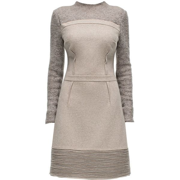 LATTORI Poise, Tight Waist, Long Sleeve, Beige Dress ($349) ❤ liked on Polyvore featuring dresses, long sleeve dresses, dressy dresses, long sleeve embellished dress, embellished dresses and brown dress