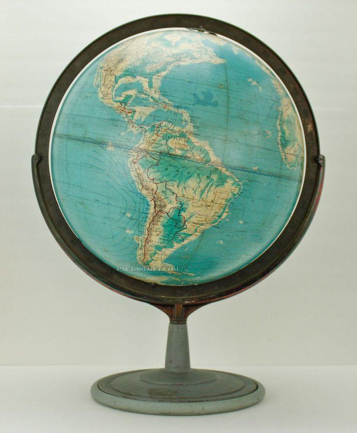 Industrial World Globe Cartocraft Denoyer-Geppert Distressed Iron HEAVY Vtg in Antiques, Maps, Atlases & Globes, Globes | eBay