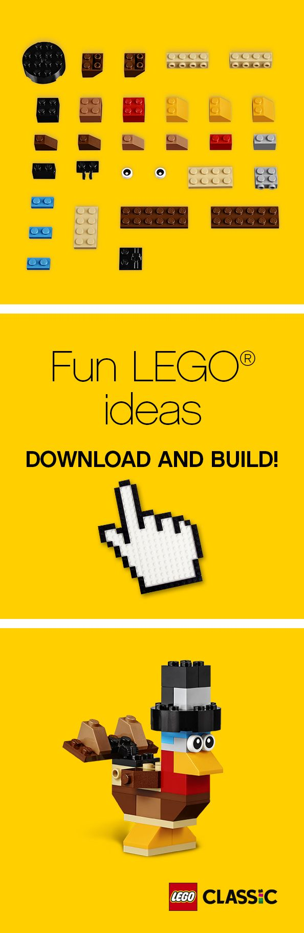 Beginner LEGO Project Ideas with Classic Tubs - All of these projects can be made using the LEGO Classic Creative Building Set. Or, just use the ideas as a springboard for kids to create their own designs! Find this Pin and more on Frugal Fun for Boys and Girls by sarahmomof4boys. 10 best selling ...