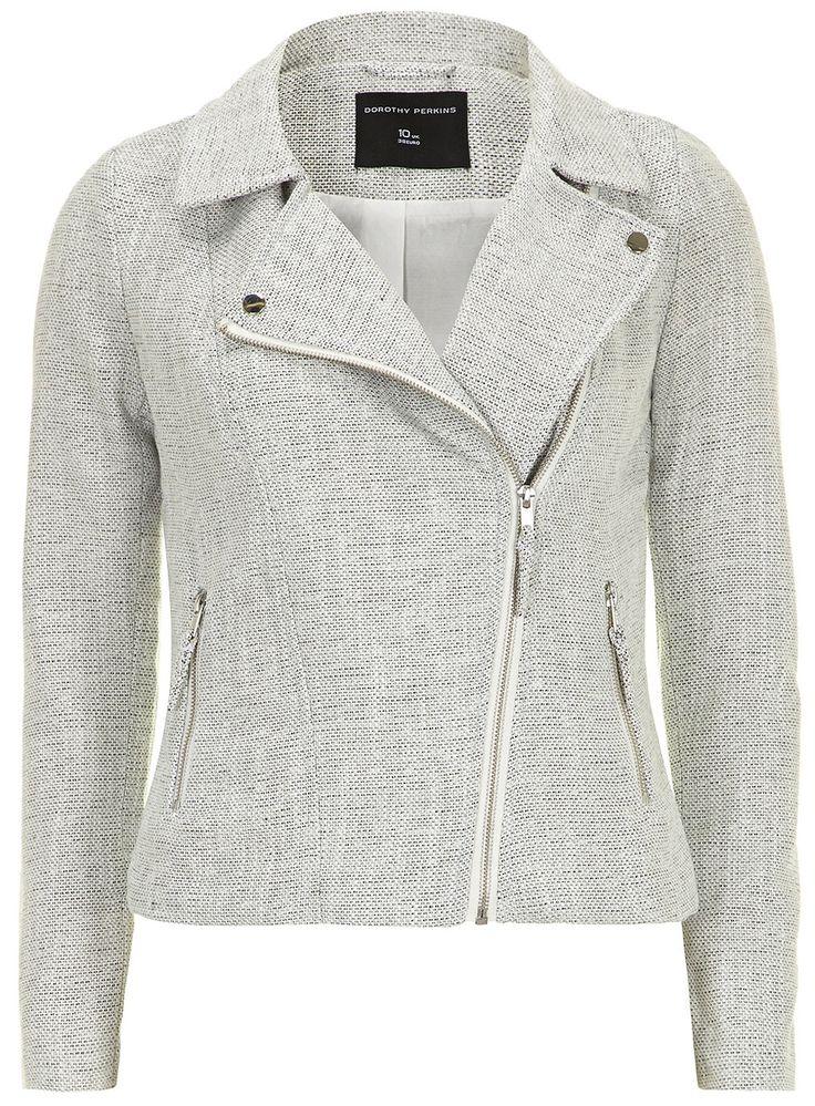 Grey Boucle Fabric Biker Jacket Clothes, High fashion