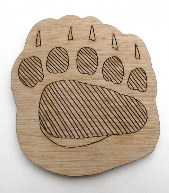 houten onderzetter voor glas of mok, Paw Print Coaster Grizzlybeer
