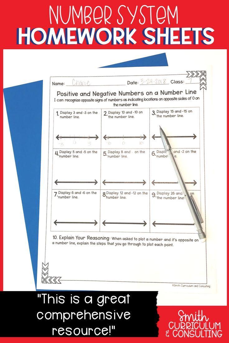 Sixth Grade Math Homework Sheets- The Number System   Sixth grade math [ 1102 x 735 Pixel ]