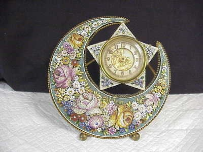 Antique Micro Mosaic Floral Moon & Star British United Mantle Clock Spring Wind