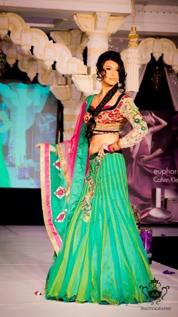 Kismet wedding show - Green Pop with Long Sleeve Choli