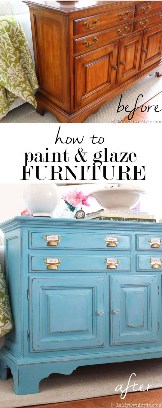 How to paint furniture tutorial. Add more depth to a painted finish on furniture with glaze. It is so easy to do. I used white glaze over turquoise DIY chalk paint to do this furniture makeover. Easy to follow step by step tutorial shows you how.