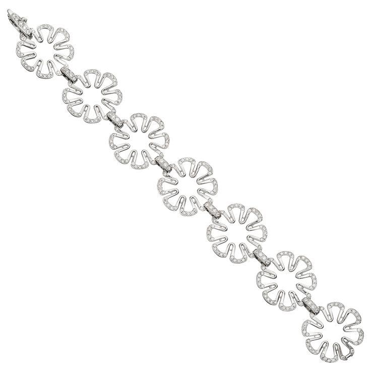 """Paul+Morelli+Small+18k+White+Gold+&+Diamond+""""Flower+Power""""+Link+Bracelet"""