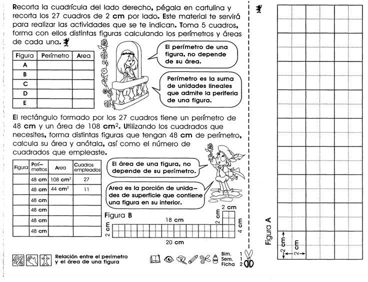 """Perímetro y área de una figura """"5to grado""""                                                                                                                                                                                 Más"""