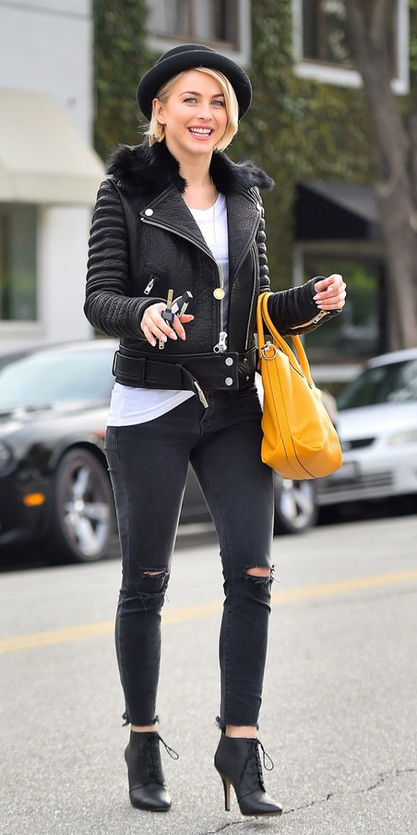 Julianne Hough's rocker-chic outfit: bowler hat, fur-trimmed leather moto jacket, distressed jeans, bright yellow purse, and lace-up black booties