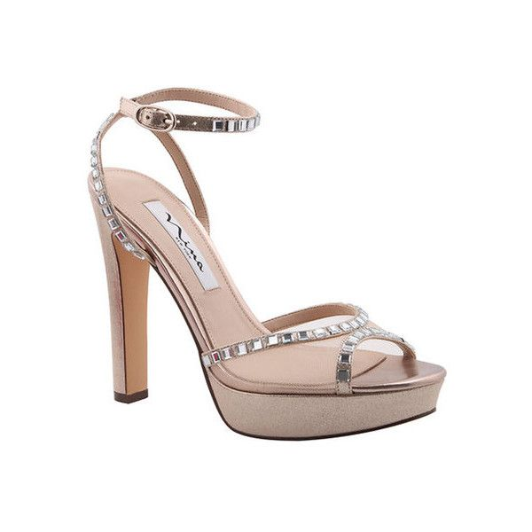 Women's Nina Myrna Ankle Strap Sandal ($99) ❤ liked on Polyvore featuring shoes, sandals, dresses, high heel shoes, ankle tie sandals, embellished sandals, high heels sandals and nina shoes