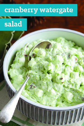 Cranberry Watergate Salad – Made with crushed pineapple, chopped cranberries, and pistachio pudding, this Watergate salad recipe has the power to make any meal or holiday menu more festive!