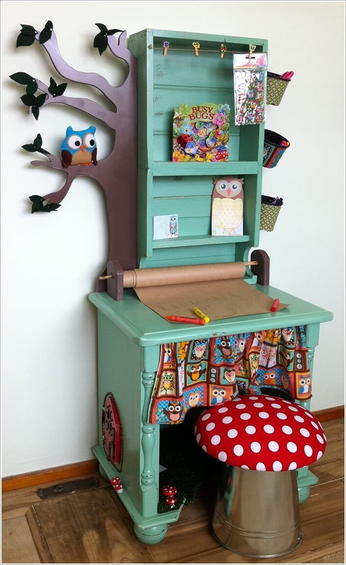 Drawing Room Furniture Design: Give A Cute Makeover To Your Kids' Study Table Like This