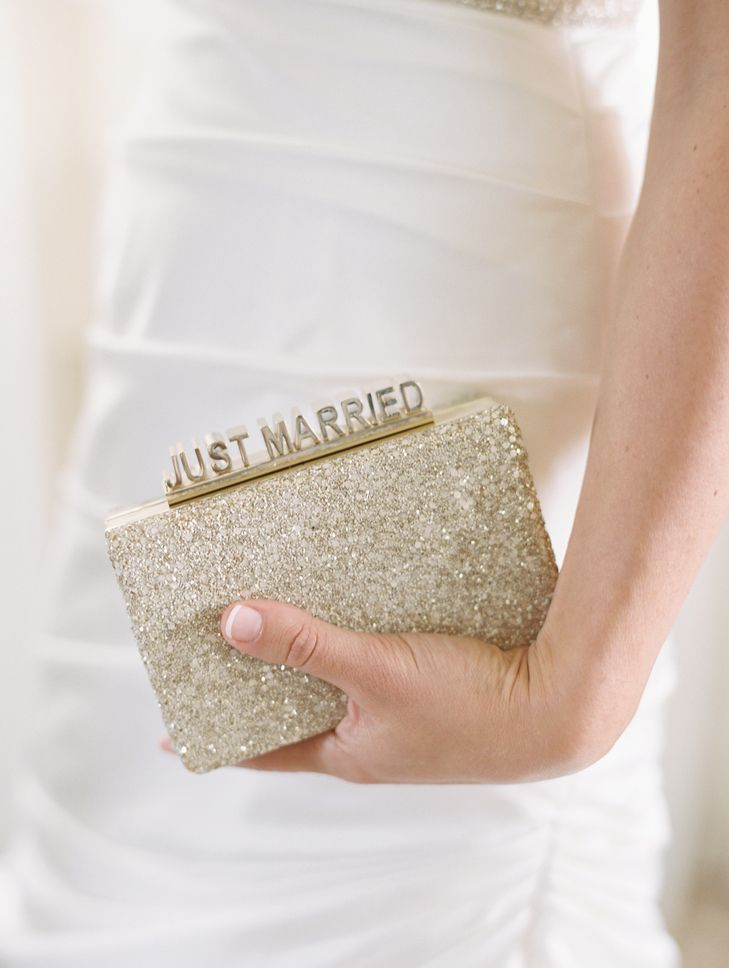 "Gold ""Just Married"" Kate Spade Clutch 