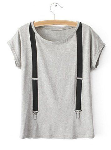 Estilo redondo bajo informal Patrón Correa Collar Mujeres algodón de manga corta camiseta