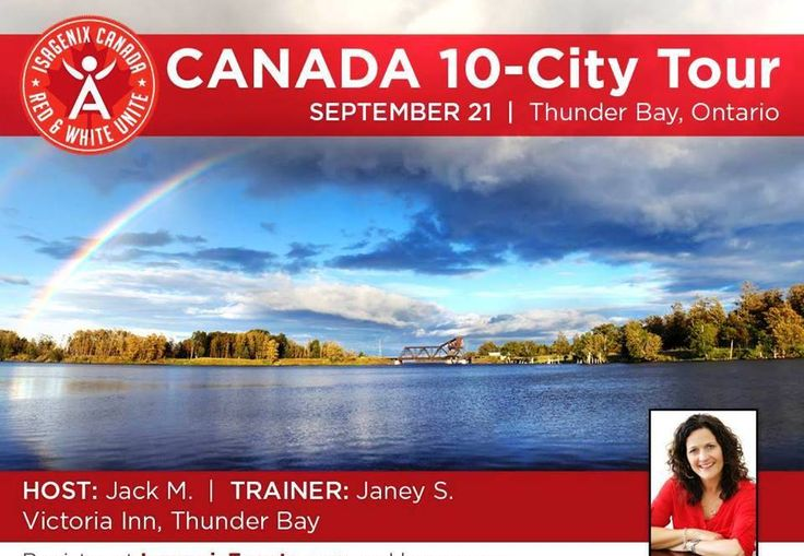 We're in Thunder Bay On. Sept 21 7pm. For more info www.energeticU.isagenix.com/en-CA/leading-pages/contact-me