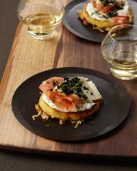 Crispy Potato Galette with Dill Cream, Smoked Salmon and Sturgeon and Osetra Caviar - Wolfgang Puck from Food & Wine