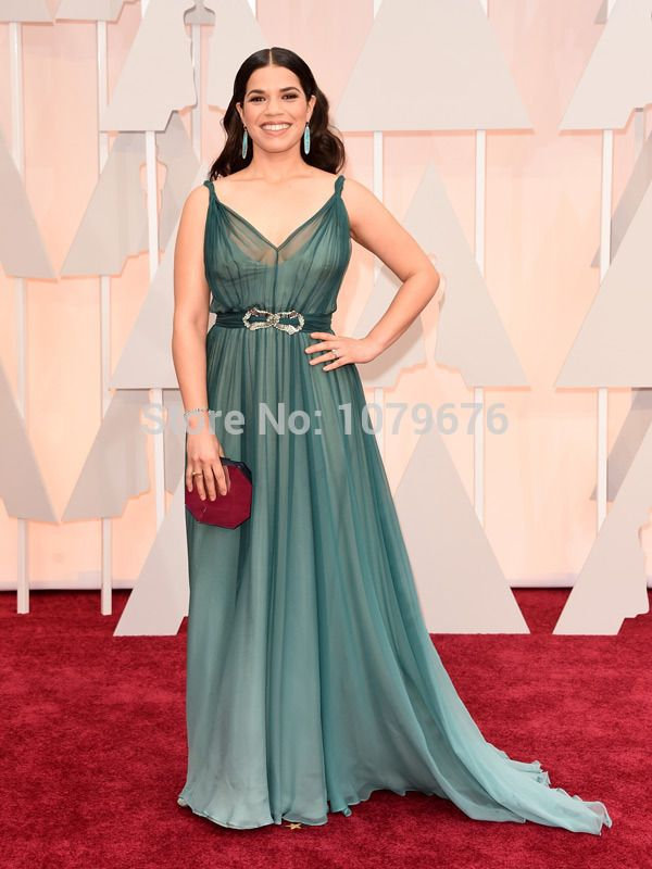 2015 Oscar Celebrity Red Carpet Dresses America Ferrera Evening Gowns Dark Green Formal Chiffon Dress For Ladies