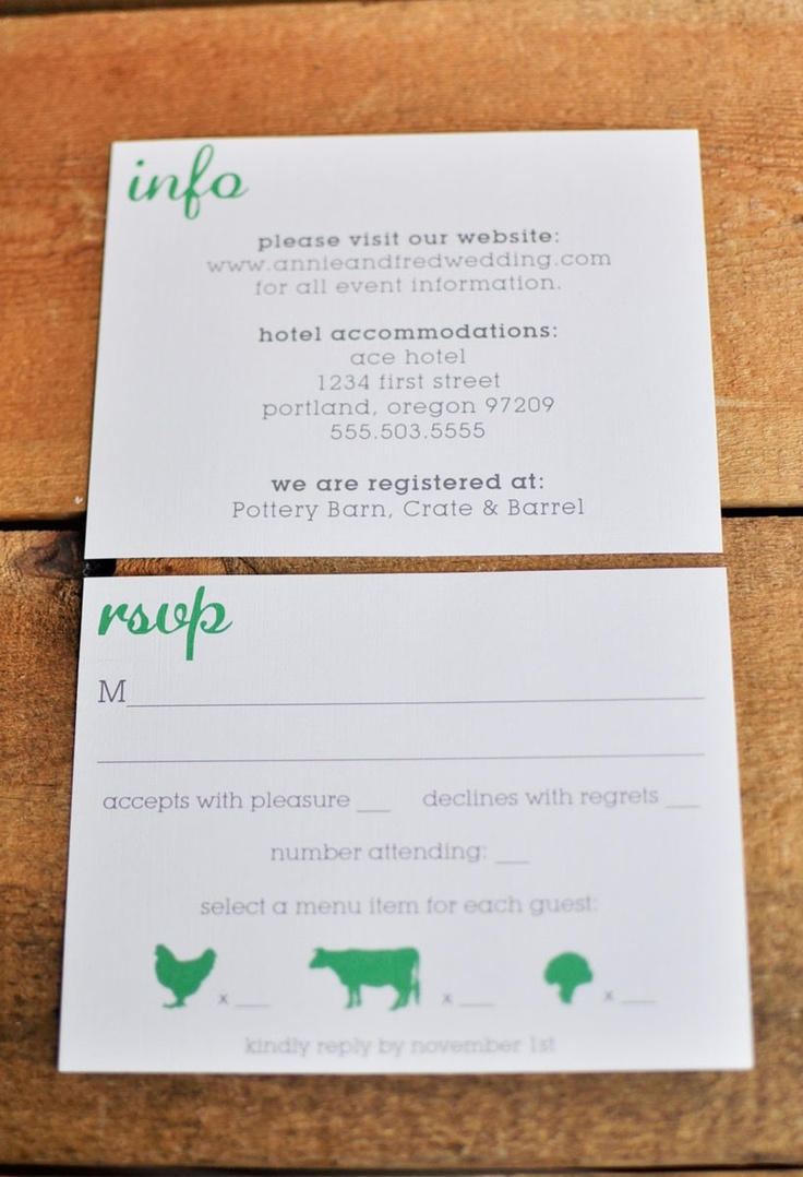 Rsvp Card Wording Cute Food Choice Idea Even If We Don T Have Choices For People Wedding