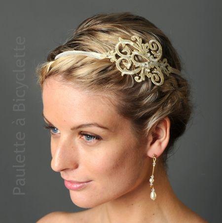 Headband mariage LUZ en broderie dorée (or pâle très doux) légèrement strassée, sur ruban élastique pailleté. Paulette à Bicyclette